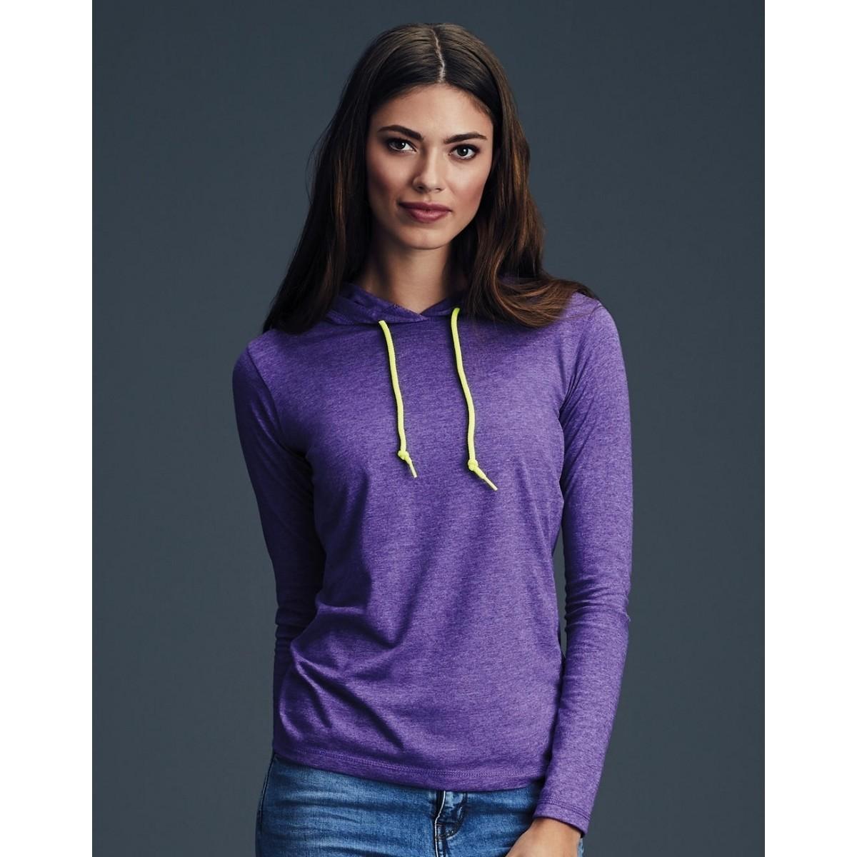 Women`s Fashion Basic LS Hooded Tee