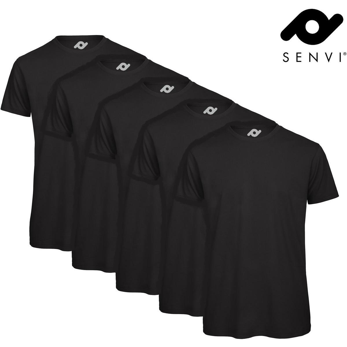 Senvi 5 pack Basic T shirt Maat M Kleur Zwart