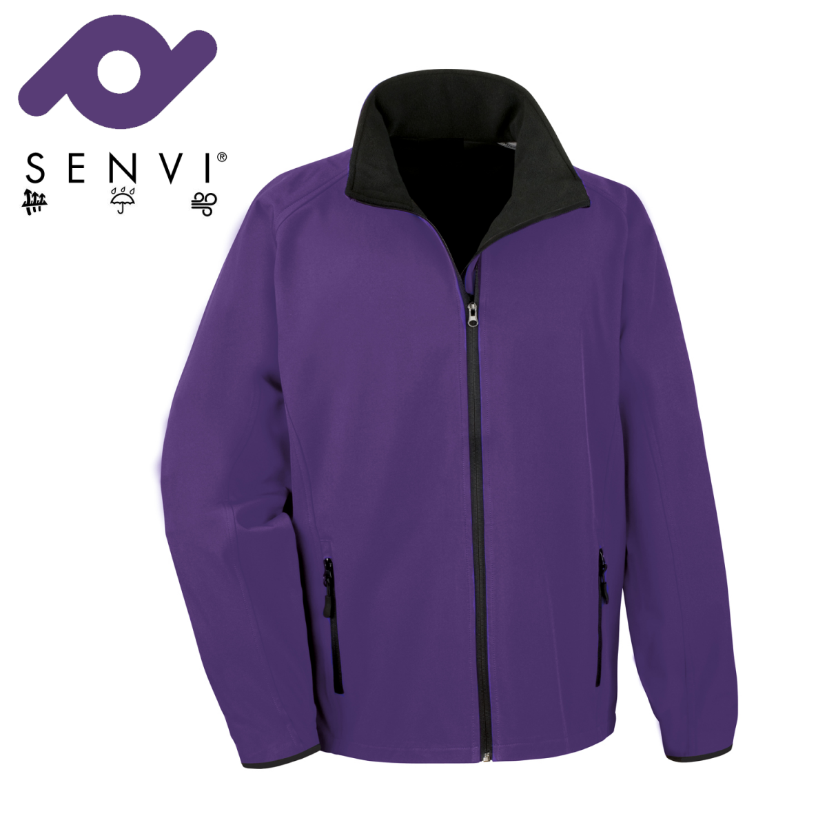 Senvi Softshell Jas - Kleur Paars//Zwart- Maat M