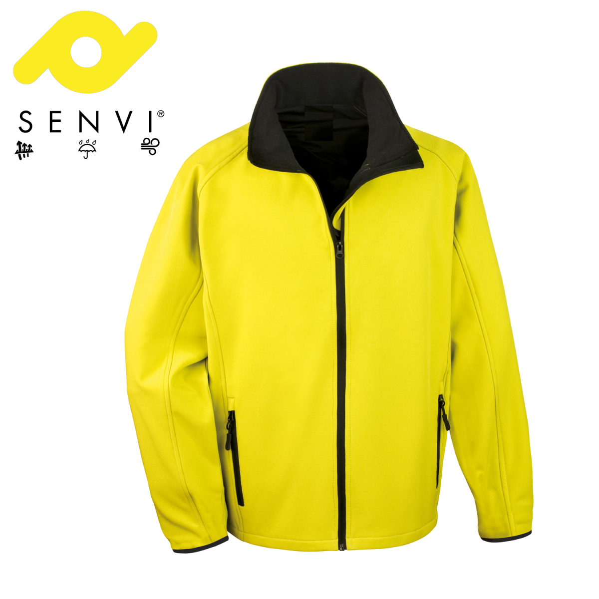 Senvi Softshell Jas - Kleur Geel/Zwart- Maat XXXXL (4XL)