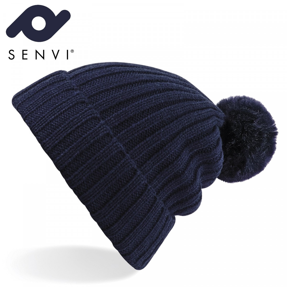 Senvi Arosa Fur Pom Pom Beanie Blauw (One size fits all)