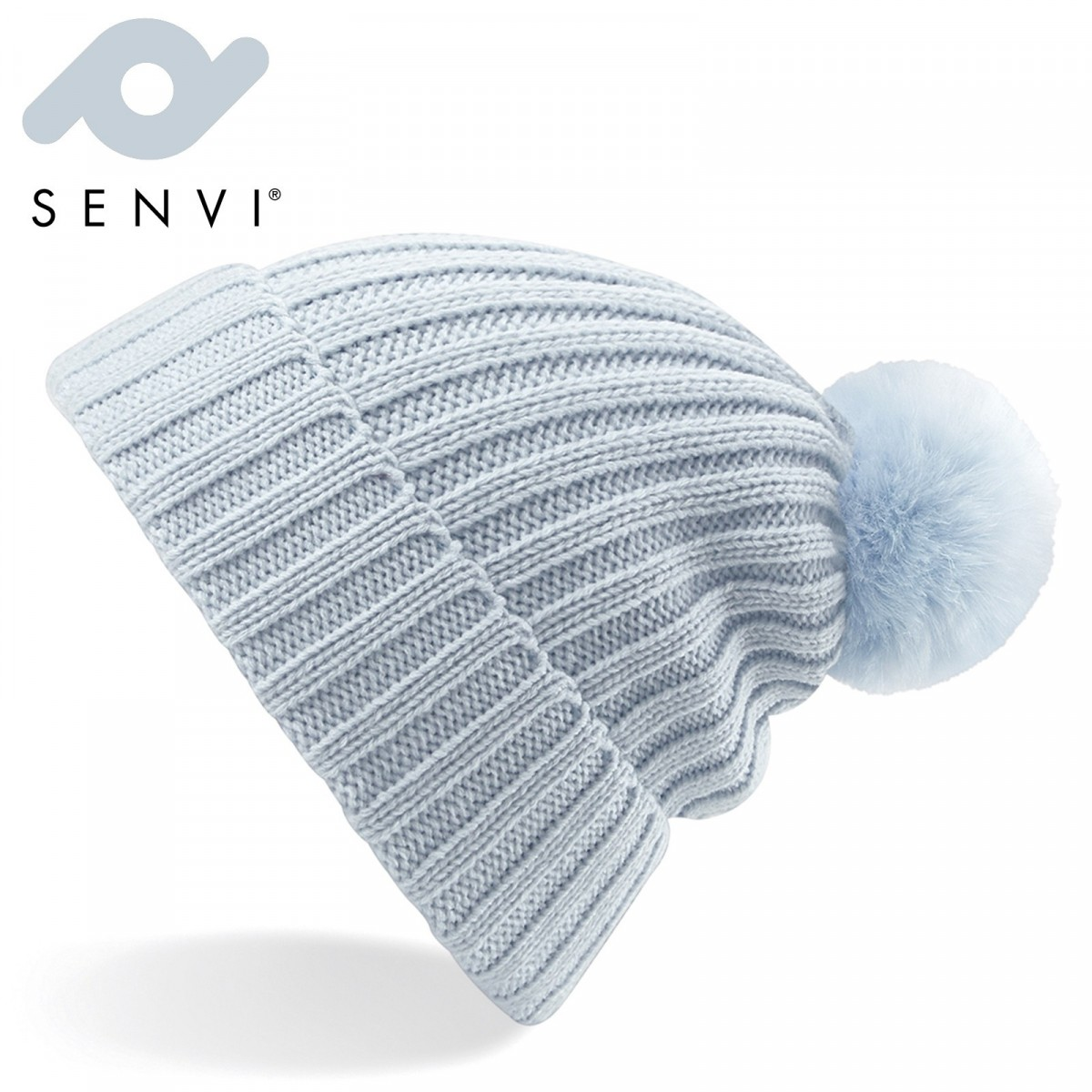 Senvi Arosa Fur Pom Pom Beanie Pastel Blauw (One size fits all)