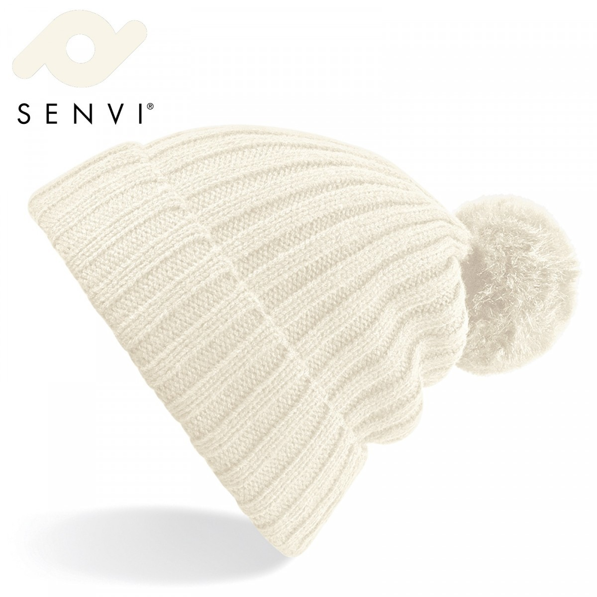 Senvi Arosa Fur Pom Pom Beanie Off Wit (One size fits all)