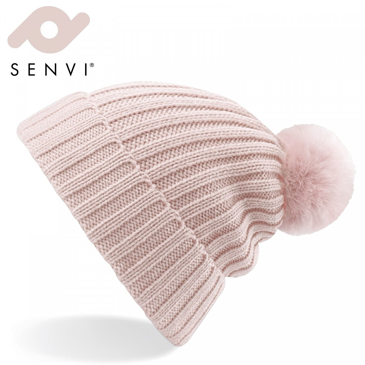 Senvi Arosa Fur Pom Pom Beanie Pastel Roze (One size fits all)