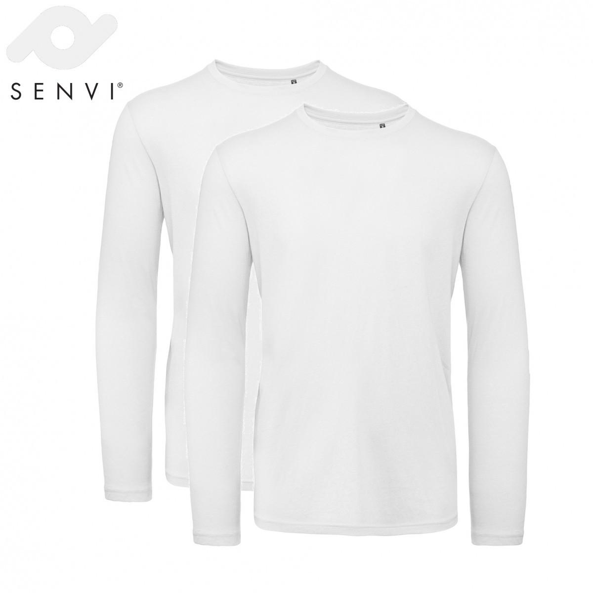 Senvi Basic T-shirt 2 pack Lange Mouwen Heren Wit Maat S (organisch katoen)