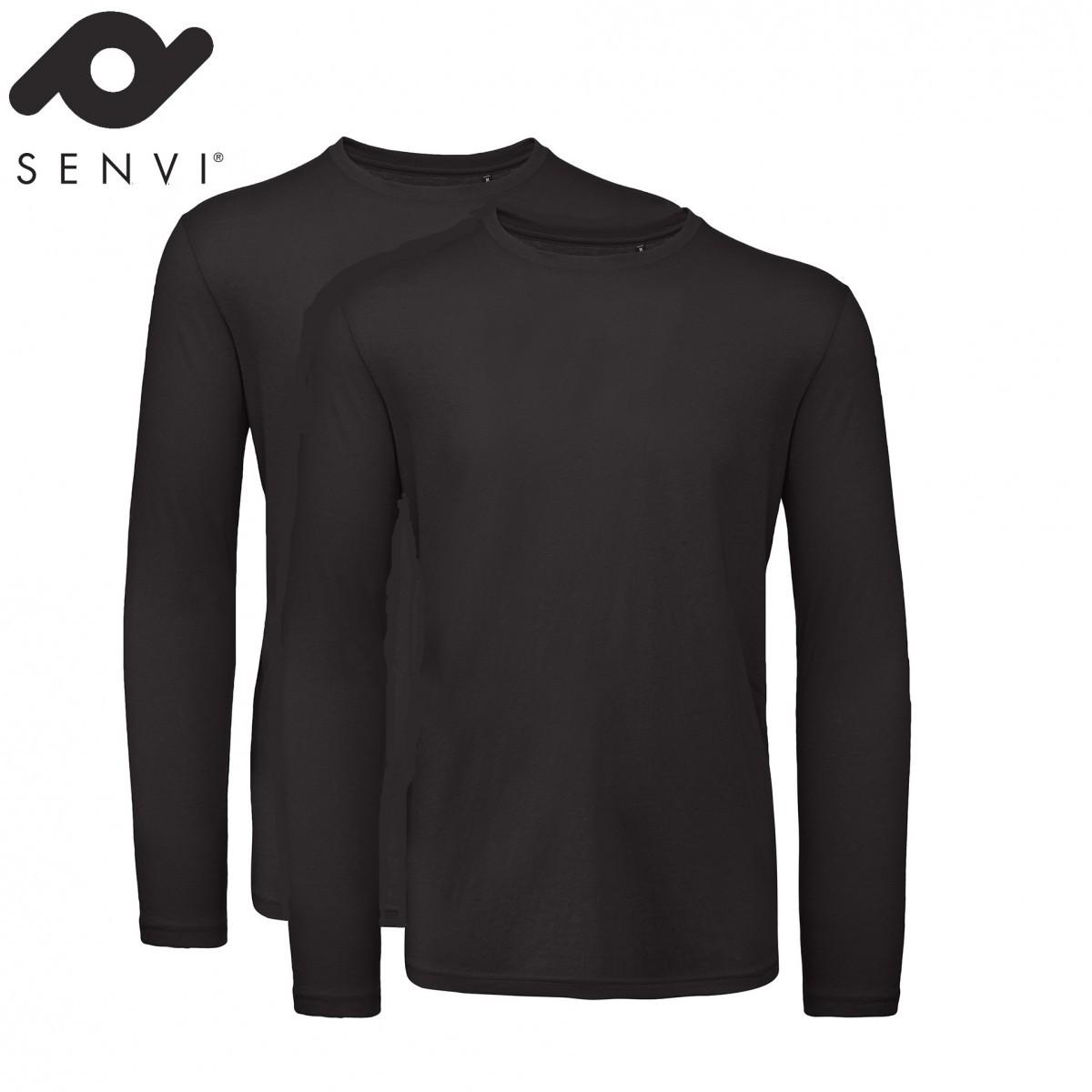 Senvi Basic T-shirt 2 pack Lange Mouwen Heren Zwart Maat XL (organisch katoen)