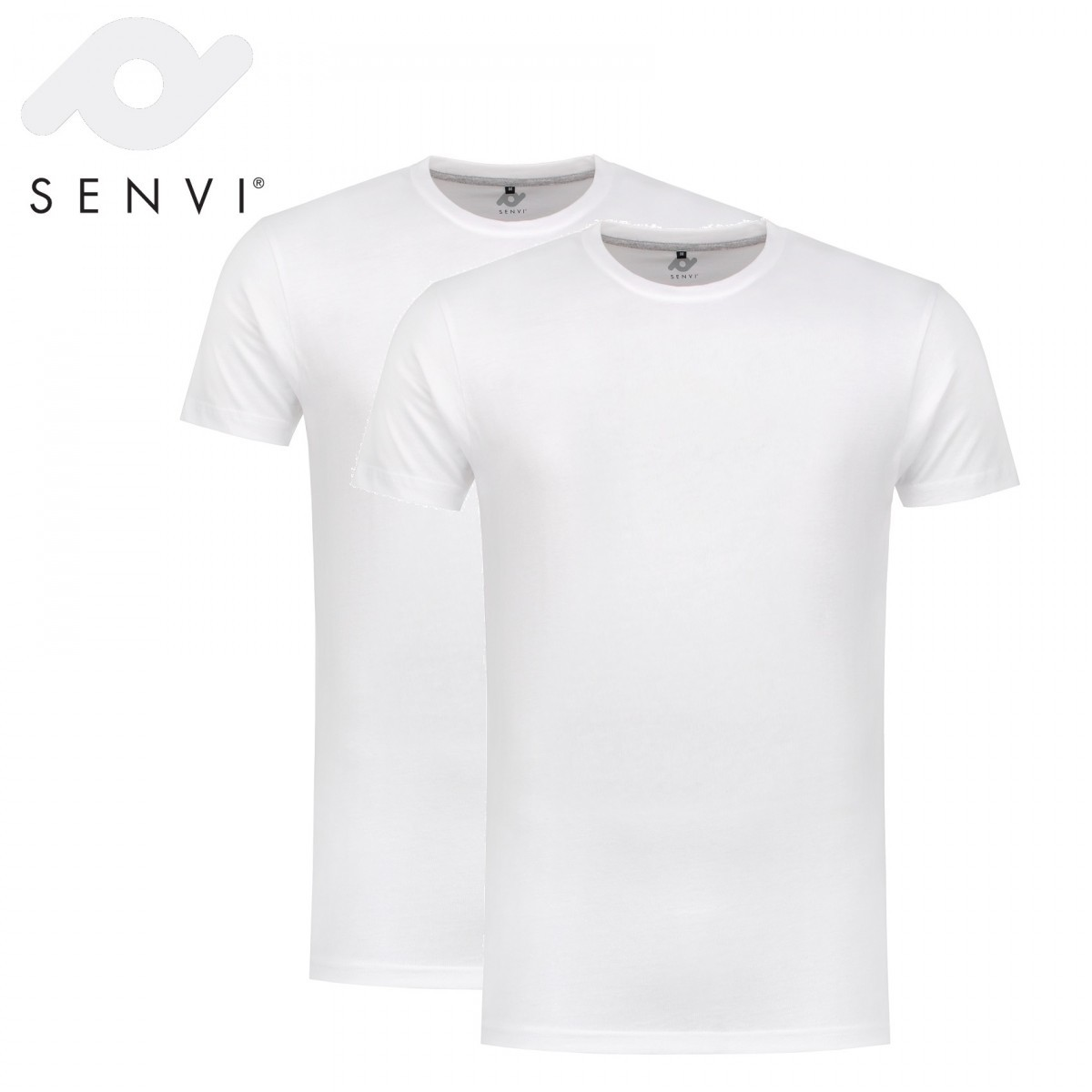 Senvi Basic T-Shirt Wit 2 Pack Maat L