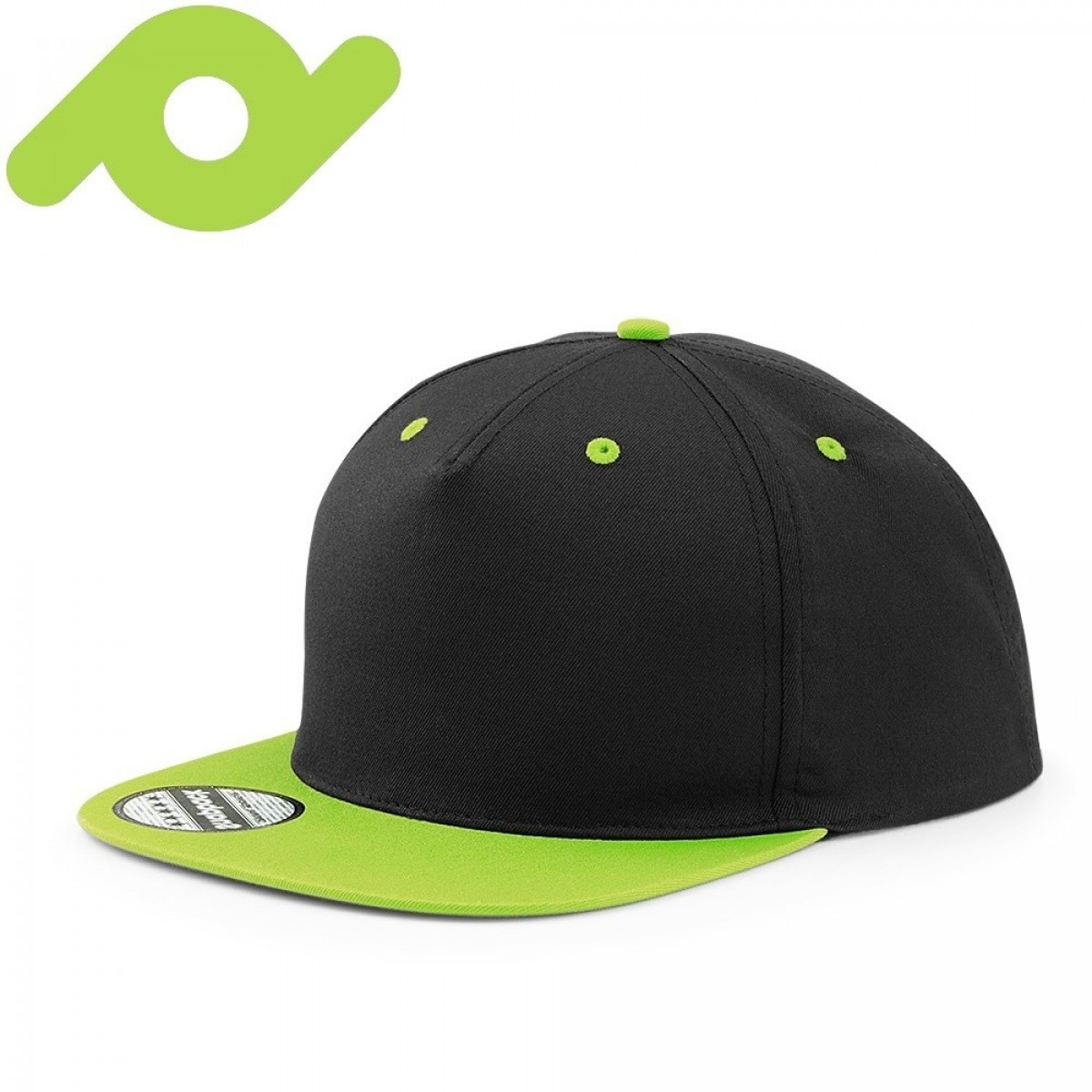 Senvi Snapback met Platte Klep Zwart/Lime (One size fits all)