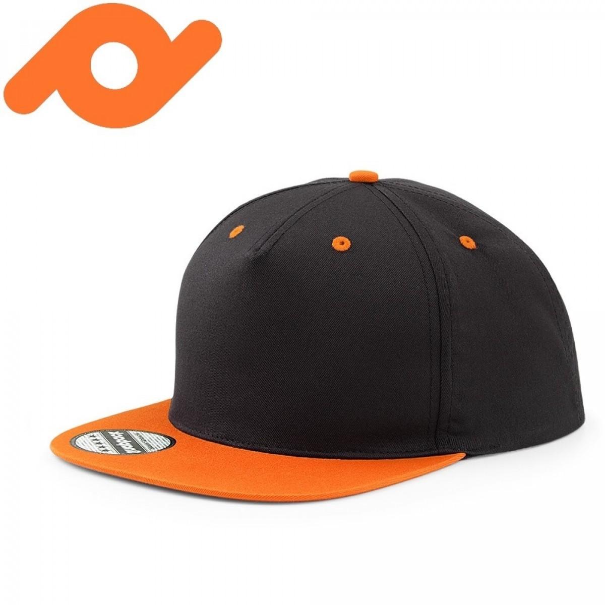 Senvi Snapback met Platte Klep Zwart/Oranje (One size fits all)