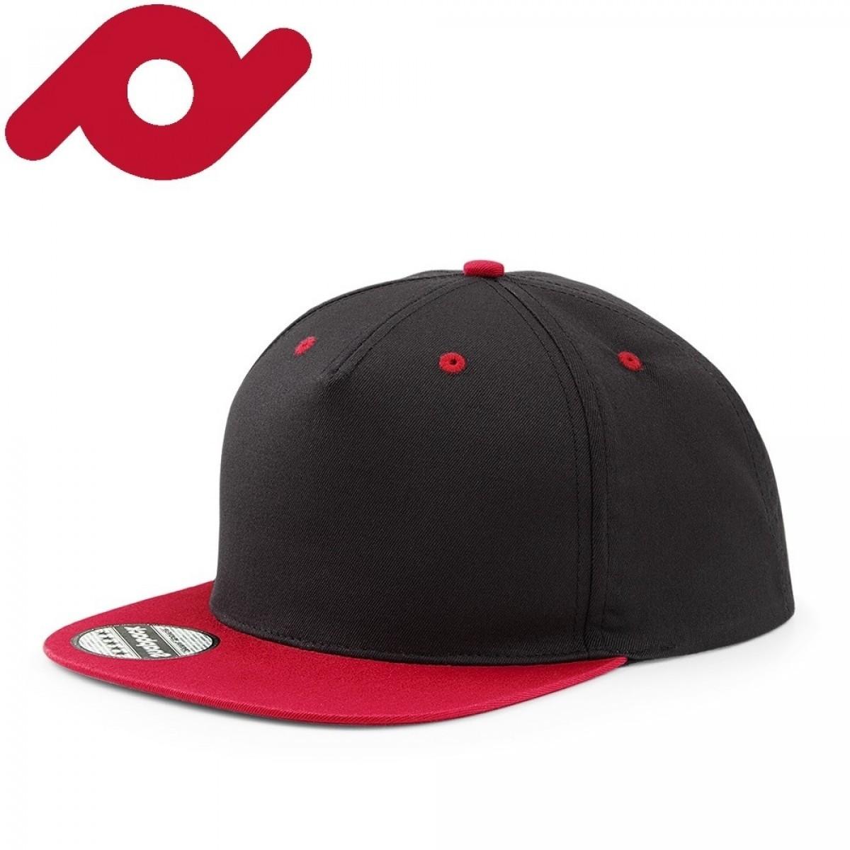 Senvi Snapback met Platte Klep Zwart/Rood (One size fits all)