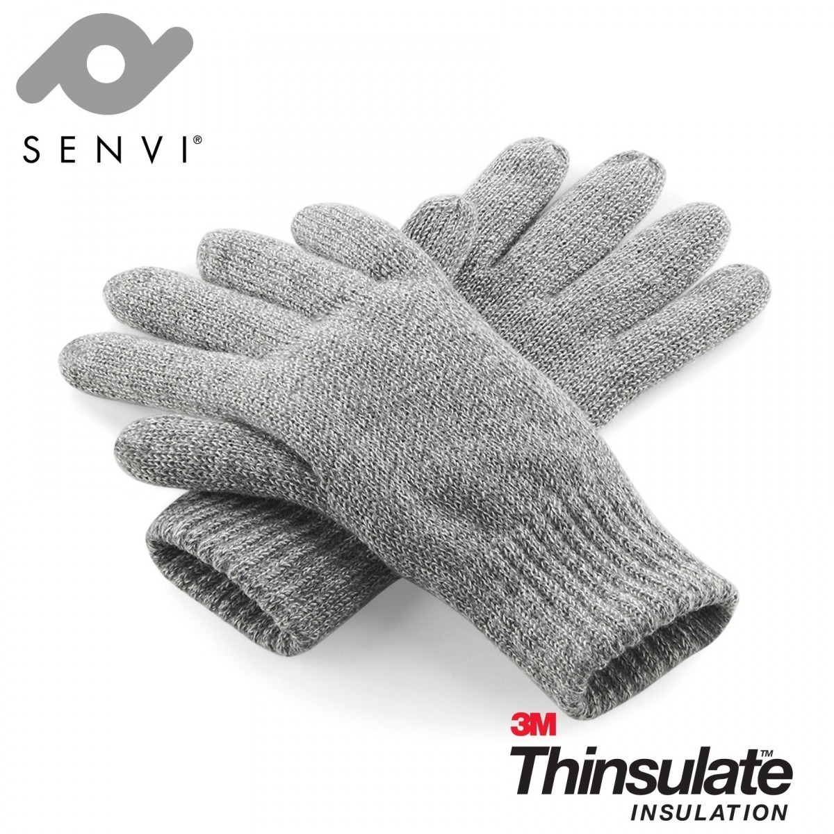 Senvi klassieke 3M Thinsulate™ Handschoenen Grijs Melee Maat S/M (Volledig gevoerd)