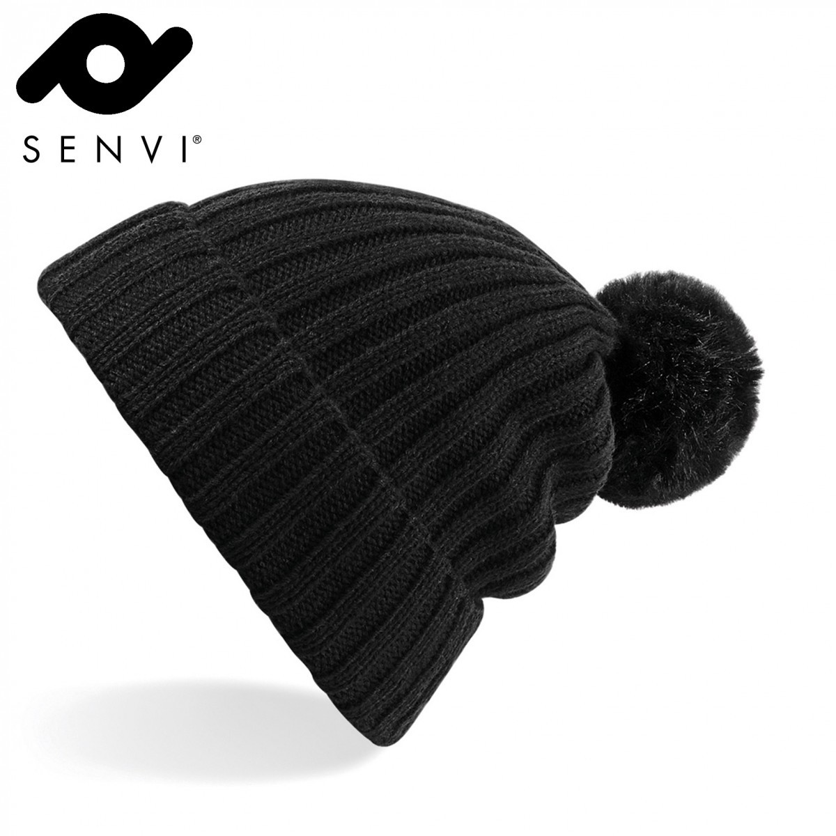 Senvi Arosa Fur Pom Pom Beanie Zwart (One size fits all)