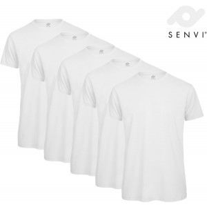 Senvi 5 pack Basic T shirt Maat L Kleur Wit