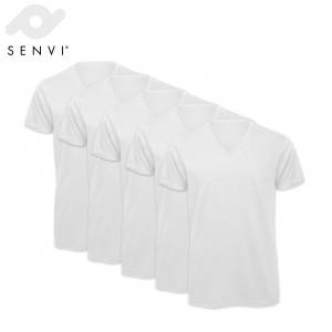 5 Pack - Senvi V-hals T-shirt - Kleur Wit - 100% Katoen (Biologisch)