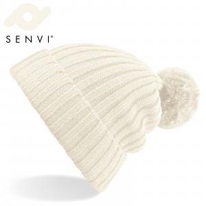 Senvi Arosa Fur Pom Pom Beanie Off Wit (One size fits all)