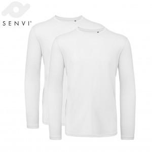 Senvi Basic T-shirt Lange 2 pack Mouwen Heren Wit Maat XL (organisch katoen)