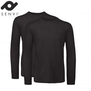Senvi Basic T-shirt 2 pack  Lange Mouwen Heren Zwart Maat S (organisch katoen)