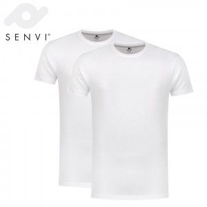 Senvi Basic T-Shirt Wit 2 Pack Maat L
