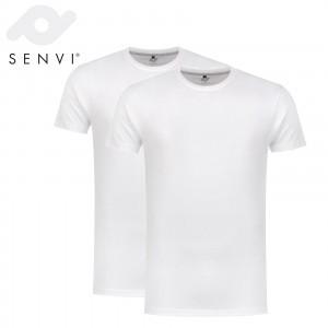 Senvi Basic T-Shirt Wit 2 Pack Maat XXL